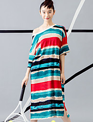 ROOM404  Women's Casual/Daily Simple Loose DressStriped Round Neck Knee-length Length Sleeve