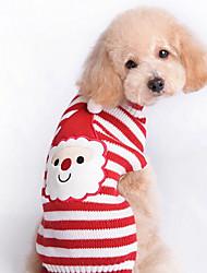 Gatos / Cães Súeters Vermelho Roupas para Cães Inverno / Primavera/Outono Riscas Fofo / Natal / Ano Novo