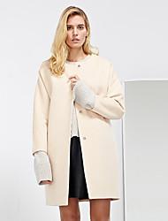 Damen Solide / Einfarbig Einfach Lässig/Alltäglich Mantel,Winter Rundhalsausschnitt Langarm Beige Mittel Wolle / Polyester