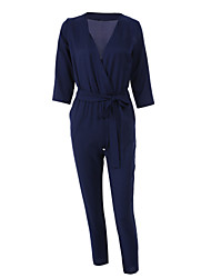 Women's Blue Jumpsuits,Sexy ¾ Sleeve