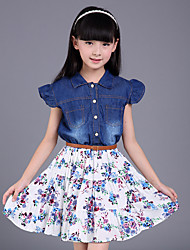 Girl's Casual/Daily Floral JeansCotton / Polyester Summer / Spring Blue / White