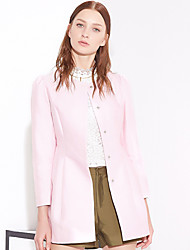 I'HAPPY Women's Formal Simple CoatSolid Round Neck Long Sleeve Spring / Fall Blue / Pink / Red