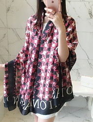 Vintage Letter Flower Houndstooth Printing Stitching Color Beach Towel Satin Silk Scarf Oversized Travel  Shawl Scarves