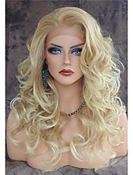 жен. Парики из искусственных волос Лента спереди Длиный Естественные кудри Блондинка Природные волосы Боковая часть Парик из натуральных