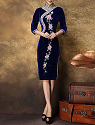 Women's Formal Sexy Bodycon Dress,Floral Midi ¾ Sleeve Blue Silk / Polyester All Seasons