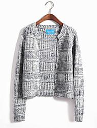 Women's Casual/Daily Simple Regular CardiganColor Block Multi-color Asymmetrical Long Sleeve Acrylic Fall