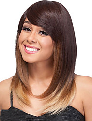 Blonde Brown Ombre Color Middle Straight Wigs Capless Synthetic Wigs For Women