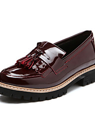 Women's Loafers & Slip-Ons Spring Fall Comfort Microfibre Casual Low Heel Tassel Black Burgundy Others