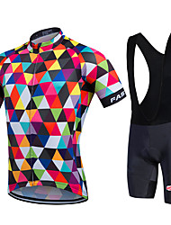 Fastcute® Cycling Jersey with Bib Shorts Women's / Men's / Unisex Short Sleeve BikeBreathable / Quick Dry / Moisture Permeability / 3D