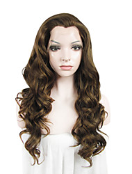 IMSTYLE 24Brown Fashion Long Wave Synthetic Wig Lace Front