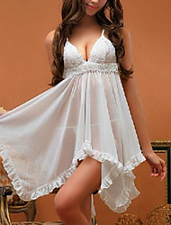 Women Babydoll & Slips Nightwear Solid Nylon / Spandex White Women's