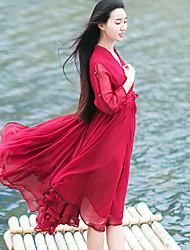 Ample Robe Femme Décontracté / Quotidien simple,Couleur Pleine Col en V Mi-long Manches Longues Rouge / Blanc Polyester Eté Taille Normale