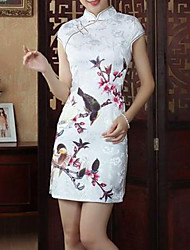 Women's Formal Vintage Sheath Dress,Jacquard Stand Above Knee Short Sleeve Multi-color Silk / Cotton Summer
