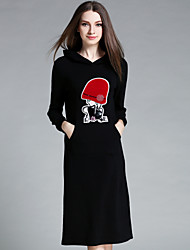 AINIER  Women's Casual/Daily Simple Sheath DressEmbroidered Hooded Knee-length Long Sleeve Black
