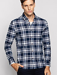 Masculino Camisa Casual / Formal Xadrez Manga Comprida Algodão Azul