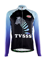 TVSSS Cycling Jersey Men's Long Sleeve Bike Breathable Thermal / Warm Front Zipper Back Pocket Ultra Light Fabric TopsPolyester Fleece