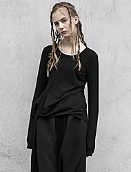 rizhuo Frauen Casual / Tages einfacher Sturz t-shirtsolid Rundhals Langarm schwarz Baumwolle / Elastan-Medium