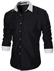 Masculino Camisa Casual / Escritório Mosaico de Retalhos Manga Comprida Algodão Preto