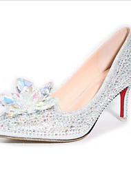 Women's Heels crystal Pointed Toe Leatherette Office & Career / Dress / Casual Stiletto HeelCrystal wedding shoes