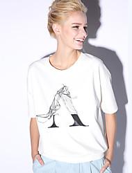 новый, прежде чем случайные / сут простой летом T-shirtprint вокруг шеи длина рукава женщин