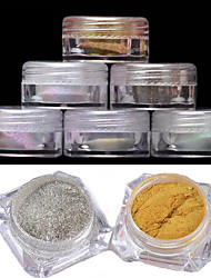 2pcs Manicure Mirror Powder Classic 6 Color 2G Boxed Laser Chameleon Powder Mirror Effect