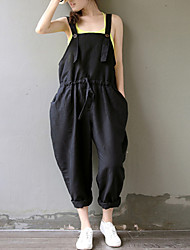 Women's Solid Black Jumpsuits,Plus Size / Casual / Day Strap Sleeveless Loose Thin Elastic Waist Fashion Cotton/Linen