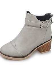 Damen-Stiefel-Kleid-Kunstleder-Blockabsatz-Modische Stiefel-Schwarz / Grau / Beige