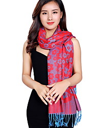 National Wind Jacquard Fringed Printing Flower Embroidery Cotton Shawl Scarf Oversized Travel Scarves