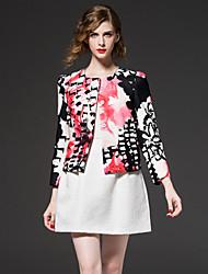 frmz chinoiserie Frühling Ausgehen / fallen jacketsfloral Rundhals Langarm rosa Polyester Medium