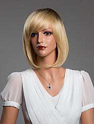 belas médio bob peruca sem capa retas com franja do cabelo humano cor misturada de 14 polegadas