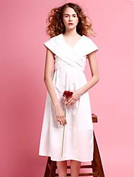 les femmes liangsanshi de sortir simple robe lâche, col v solide manches courtes midi ressort de polyester blanc
