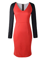Women's Going out / Casual/Daily Sexy / Simple Bodycon DressColor Block V Neck Above Knee Long Sleeve
