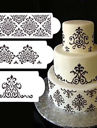 3Pcs Lot Lace Flower Cake Stencil Cake Cookie Fondant Side Baking Stencil Wedding Decorating Tool