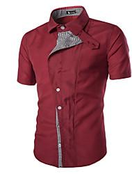Men's Summer Patchwork Plaid Cloth Casual Work Cotton Short Sleeve Lapel Shirt