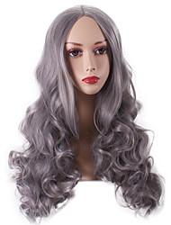 las mujeres largas y profundas onda sintética pelucas de cabello gris abuelita calor de fibra resistente al partido cosplay peluca de pelo barato