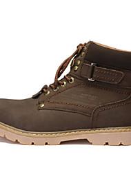 Для мужчин Ботинки Армейские ботинки Кожа Зима Повседневные Армейские ботинки Шнуровка На платформе Желтый Коричневый Кофейный2,5 - 4,5