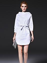 FRMZ  Women's Work Simple Sheath DressSolid Stand Above Knee Sleeve White / Brown