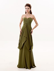 A-Line Sweetheart Floor Length Chiffon Formal Evening Dress with Pleats