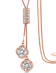 Women's Pendant Necklaces Zircon Cubic Zirconia Rhinestone Silver Plated Rose Gold Plated Alloy Tassels Fashion Gift Boxes & BagsSilver