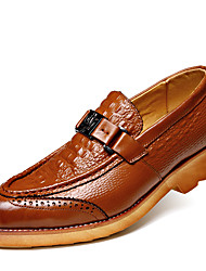 Men's Loafers & Slip-Ons Comfort Cowhide / Leather Office & Career / Casual Flat Heel Slip-onBlack /