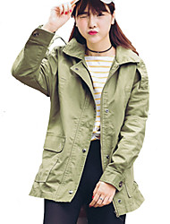Women's Casual/Daily / Holiday Active / Punk & Gothic Fall / Winter Jackets,Solid Shirt Collar Long Sleeve