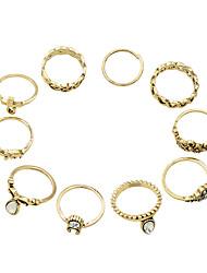 Anéis Fashion Pesta / Diário Jóias Liga Feminino Anéis unha 1conjunto,8 / Tamanho Único / 2 Dourado