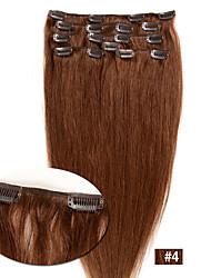 venta caliente de las tramas del pelo humano virginal recto sedoso del clip en extensiones de cabello Remy # 4 7pcs del color / set