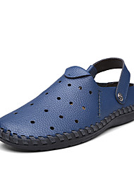 Men's Flats Summer Round Toe / Flats Leather Outdoor / Office & Career / Casual Flat Heel Others Blue