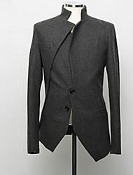 Herren Blazer-Einfarbig Freizeit / Büro Baumwolle / Polyester Lang Schwarz / Grau