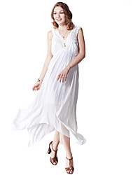 Women's Casual/Daily Simple Loose DressSolid V Neck Asymmetrical Sleeveless White/Beige Rayon Summer Mid Rise Inelastic