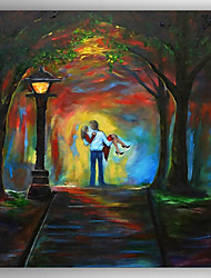 Oil Painting Landscape a Pair of Lovers in Night Hand Painted Canvas Painting with Stretched Framed Ready to Hang