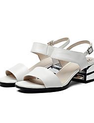 Mujer-Tacón Robusto-Confort-Sandalias-Vestido / Casual-Cuero-Blanco / Plata