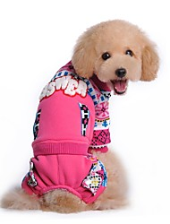 Cat Dog Coat Outfits Clothes/Jumpsuit Dog Clothes Winter Spring/Fall Color Block Holiday Fashion Keep Warm Blue Pink