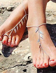Leaf Shape Silver Color Anklets Chain with Toe Ring Christmas Gifts